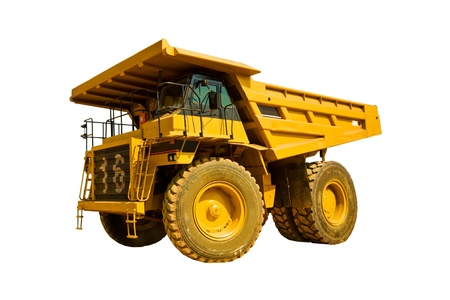 open cast mine: yellow truck on the white background