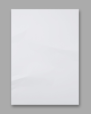 blank paper: White crumpled paper on Gray background Stock Photo