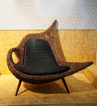 mimbre: silla de mimbre Foto de archivo