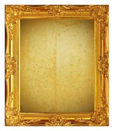 gilt: Gold frame with old paper background Stock Photo