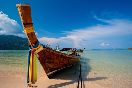 longtail: boats on the sea in Southern of Thailand Stock Photo