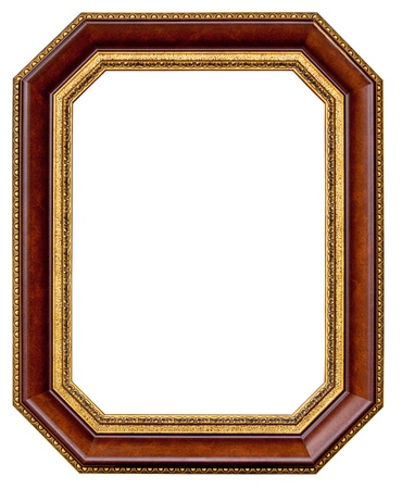 Gold and wood frame on white background Stock Photo - 9734293