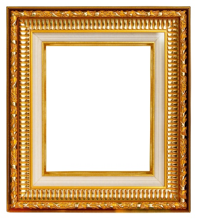 Gold frame on white background Stock Photo - 9734290