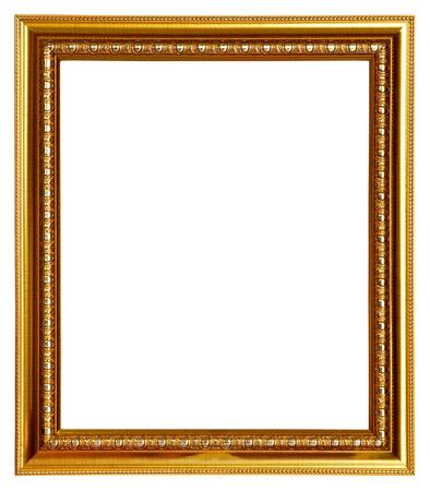 ornate gold frame: Marco de oro sobre fondo blanco Foto de archivo