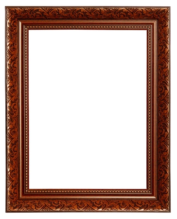 Isolate engraved Wooden frame on white background photo