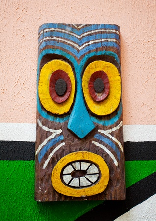 Painted Indian on wall background photo