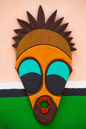 tribal park: Painted Indian on wall background