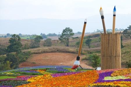 field of flower on mountain Stock Photo - 9734439