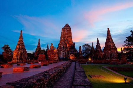 Wat Chaiwattanaram, the historical temple in Ayutthaya, Thailand photo