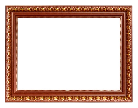 Gold frame isolated on white background photo