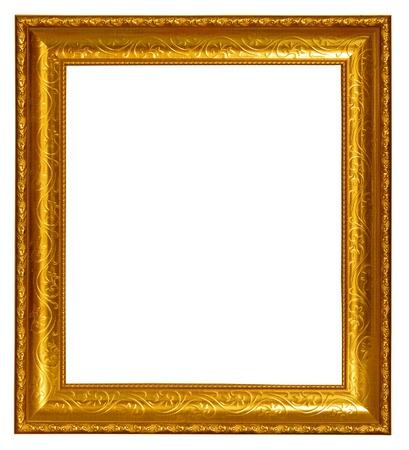 Gold frame on white background photo