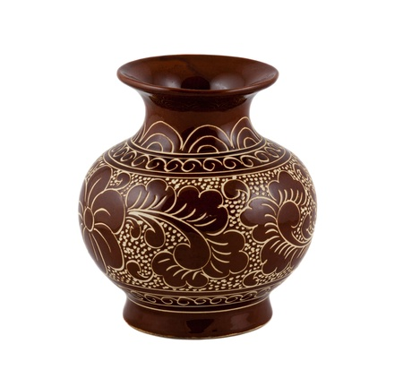 antique vase: flower vase on the white background