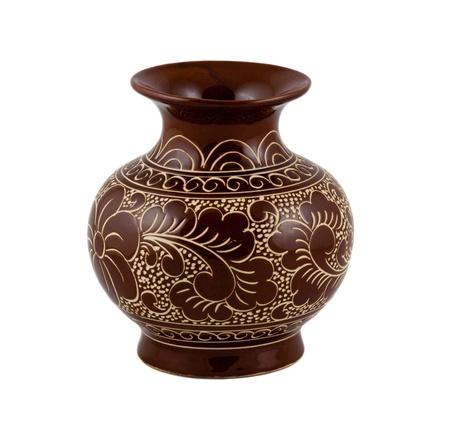 porcelain flower: flower vase on the white background