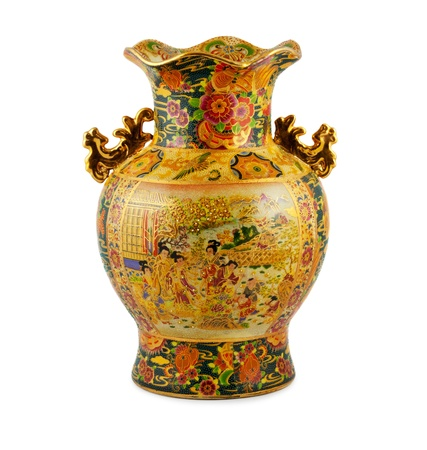 clay pot: Chine vase gold on the white background