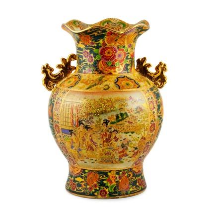 ceramiki: Chine zÅ'oty wazon na biaÅ'ym tle Zdjęcie Seryjne