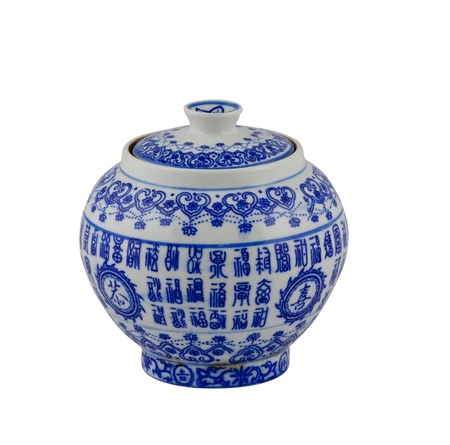 chinese antique vase on the white background photo