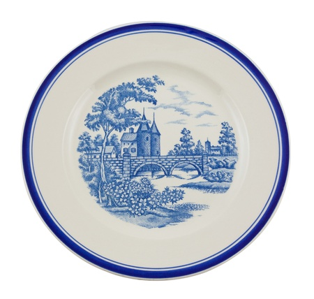 antique dishes: Painted plate isolated on white.