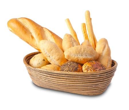 canasta de panes: Diferentes tipos de pan aislado en fondo blanco Foto de archivo