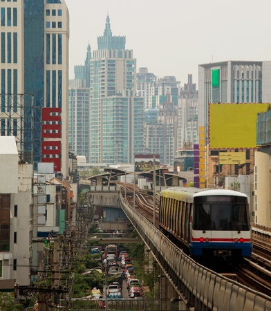 Skytrain run in Bangkok ,Thailand photo