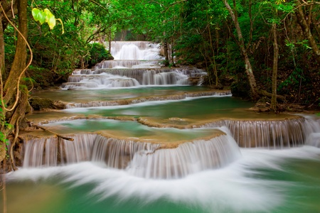 Deep forest Waterfall in Thailand photo