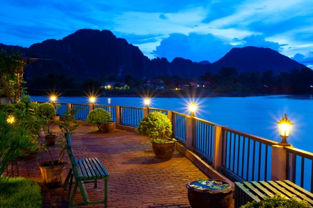View of Vang Vieng, Laos Imagens