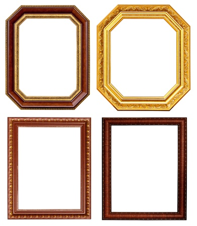 ornamentation: Gold and wood frame Collection on white background
