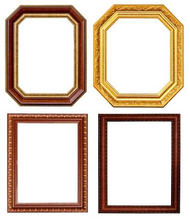 bordure vieille photo: L'or et Collection cadre en bois sur fond blanc Banque d'images