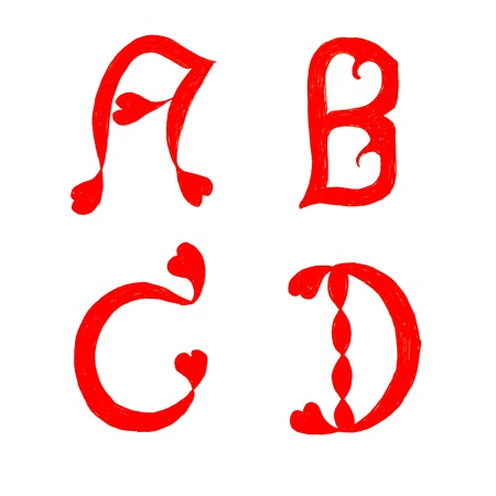 cursive: the alphabet heart letters on white background ( a b c d ) Stock Photo