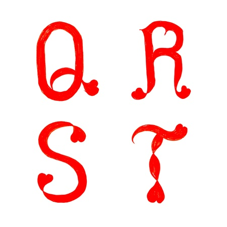 cursive: the alphabet heart letters on white background ( q r s t )