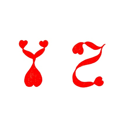 cursive: the alphabet heart letters on white background ( y z ) Stock Photo