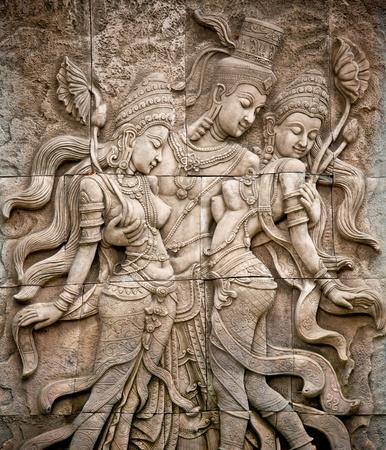kelet ázsiai kultúra: Thai stílusú angyal szobor Thaiföldön Stock fotó