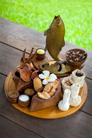 set with spa objects on the wood photo