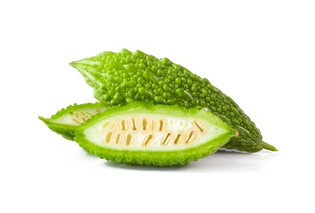 Bitter melon isolated on white background 스톡 콘텐츠