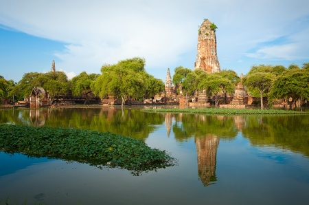 thailand flood: Wat praram temple flood in Ayuttaya, Thailand Stock Photo