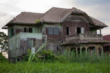 abandoned house window: abandoned old house in Thailand