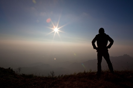 silhouette of a man on the Mountain Stock Photo - 11598888