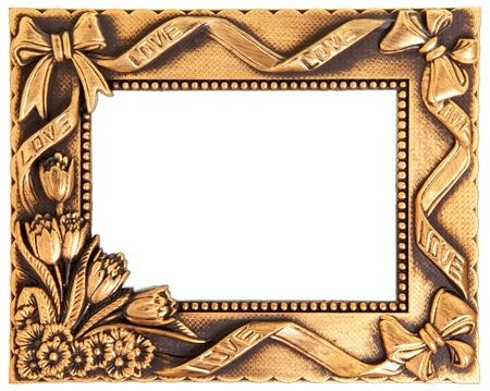gild: antica cornice dorata amore isolato su bianco