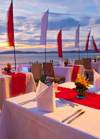 dinner on sunset at beach in Thailand