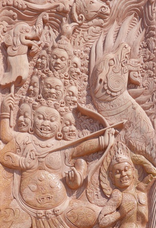 Close up of Carved wood pattern in Thailand photo