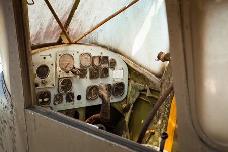 Detail of a old airplane cockpit photo