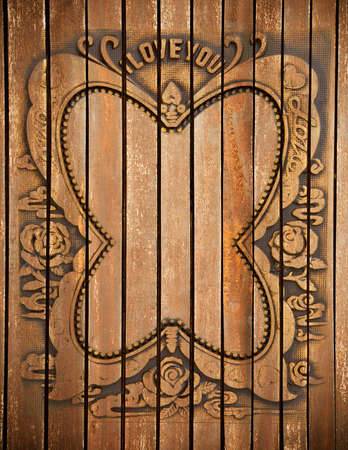 antique love wood frame as background photo
