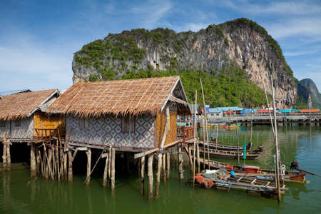 fishing huts: Fishermens Village, on the Coast of Thailand