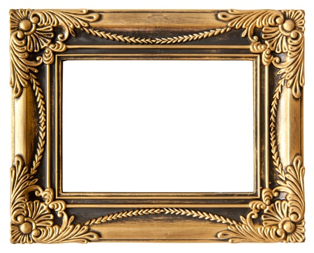 antique love gold frame isolated on white photo