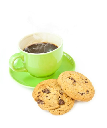 Chocolate chip cookies with cup of coffee isolated on white background photo
