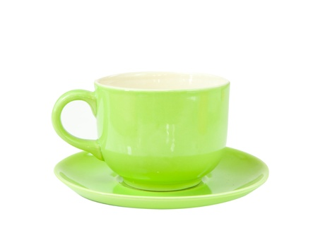green cup of hot coffee on white background photo