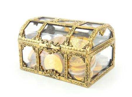 inheritance: Treasure chest isolated on white background
