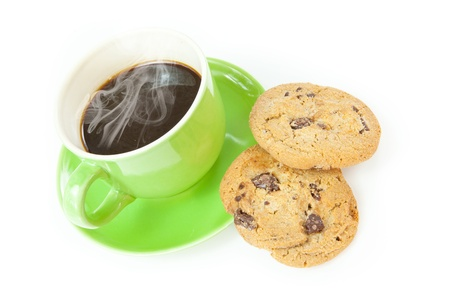 chocolate chip cookies: Chocolate chip cookies with cup of coffee isolated on white background