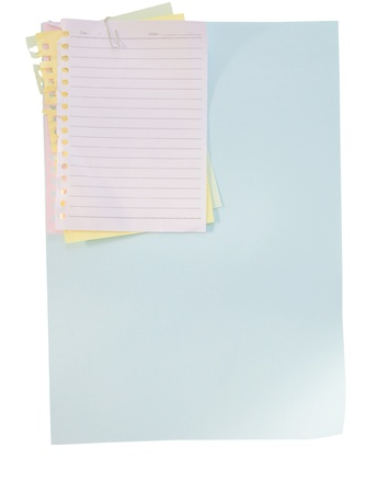 paper sheet and clip on white background photo