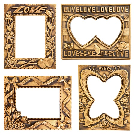 antique gold frame collection isolated on white Stock Photo - 12885823