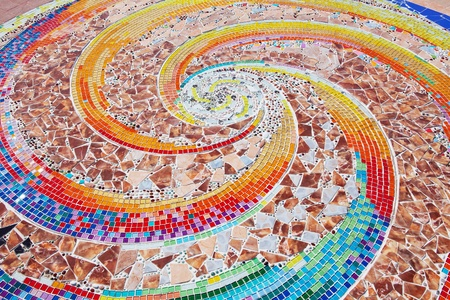 mosaic floor: colorful ceramic pattern broken tile wall Stock Photo